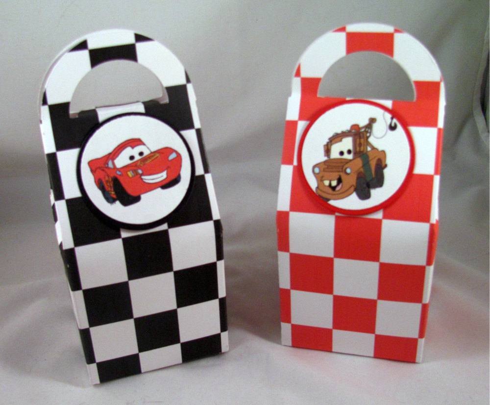 Blue Lightning Favor Boxes : Cars birthday favor boxes featuring lightning mcqueen and